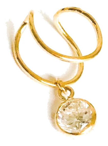 Piercing De Cartilagem Orelha Encaixe Ouro 18k E Zircônia