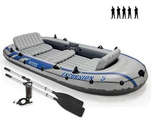 Barco Bote Inflável Excursion 5 - 600kg Intex Remos E Bomba