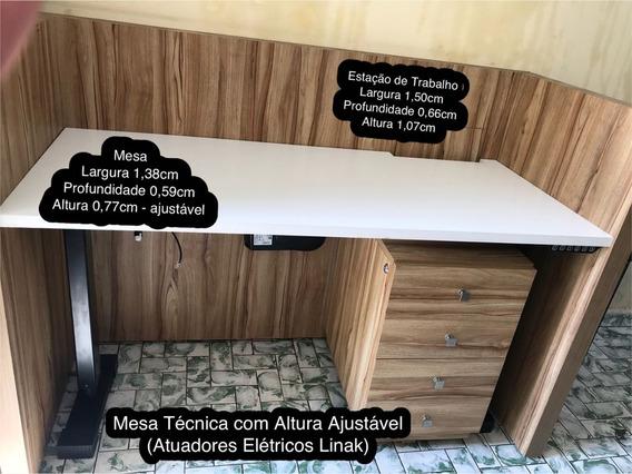 Mesa De Escritório Com Sistemas De Atuadores Linak + Gaveteiro + Baia Madeira Maciça