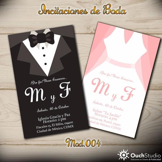 100 Invitaciones Para Boda + 100 Pases