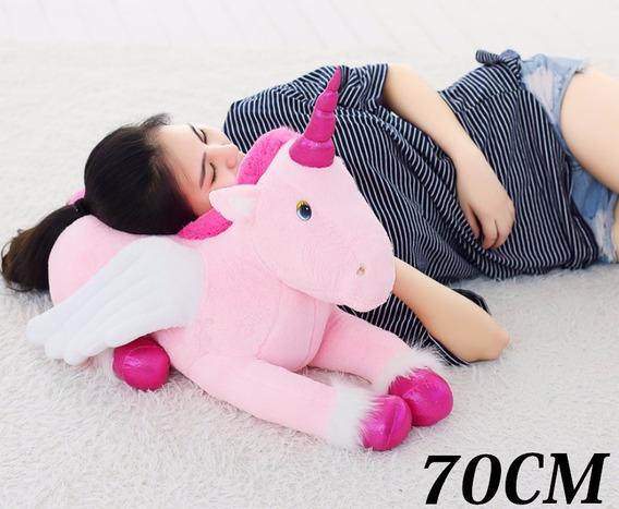 Unicorn Cavalo De Pelúcia Naninha Travesseiro Macia 70 Cm