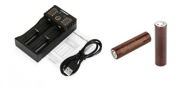 2 Bateria Lg Hg2 18650 3000mah + Case + 1 Carregador Lii-202