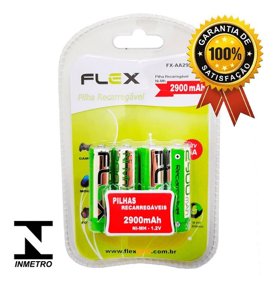 Pilha Aa Recarregável Flex 2900mah Original P/microfone