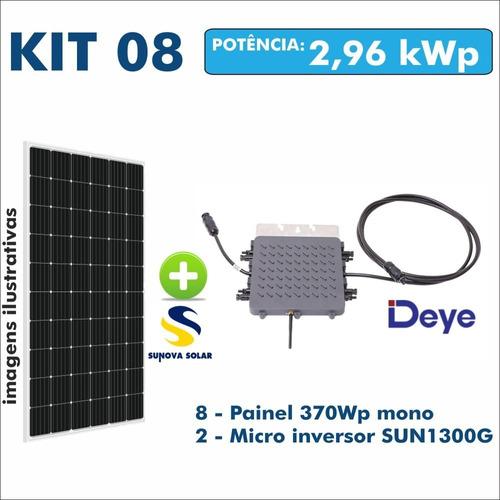 Kit Usina Solar Gerador 2 Micro Inversor + 8 Painel 370w