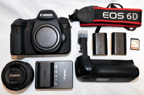 Canon 6d + Lente 50mm + Vivitar Power Grip (3 Baterias)