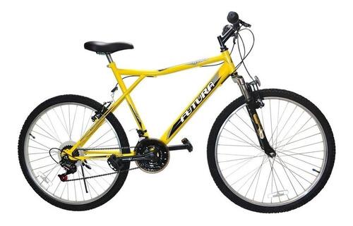"Mountain bike Futura Techno 026 R26 18"" 21v frenos v-brakes cambios Index color amarillo"