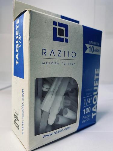 Imagen 1 de 10 de Taquete Plástico 1/4 Raziio (100 Piezas Por Caja)