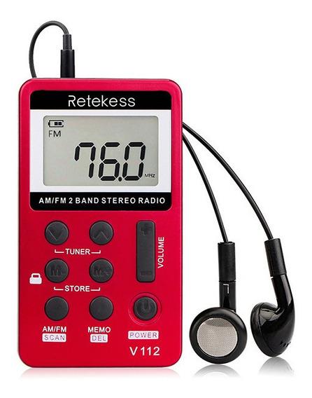 Mini Rádio Bolso Portátil Digital Am/fm Recarregável Retekess V112