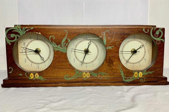 Reloj De Tres Horarios Home Vintage Madera B3