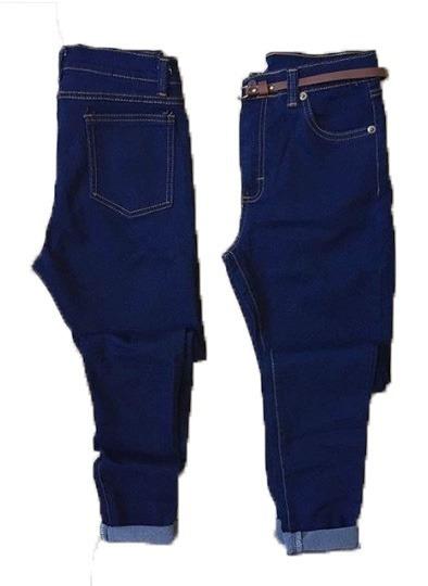 Pantalones Jeans De Dama Corte Alto A La Moda Strech