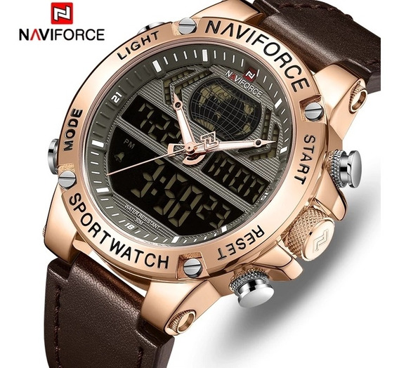 Relógio Masculino Luxo Naviforce 9164 Correia Couro Original