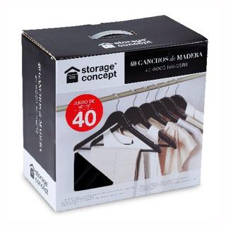Paquete 40 Ganchos Madera Espresso