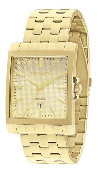 Relógio Technos Dourado Quadrado Executive 2115koz/4x