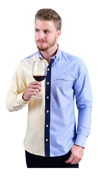 Camisa Casual Hombre Porto Blanco Algodón Azul Acero
