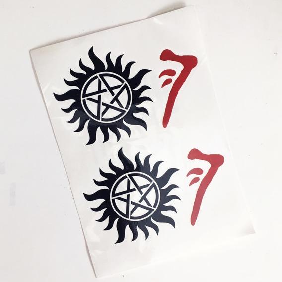 Cartela Tatuagens Temporárias Supernatural Sobrenatural