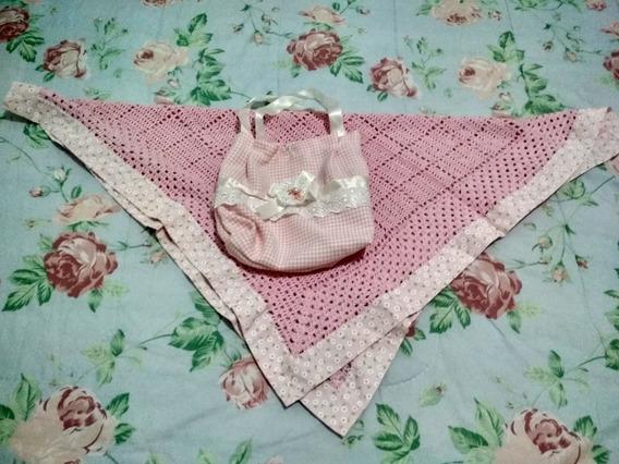 Manta De Crochê Rosa 75cmx75cm Com Bolsinha