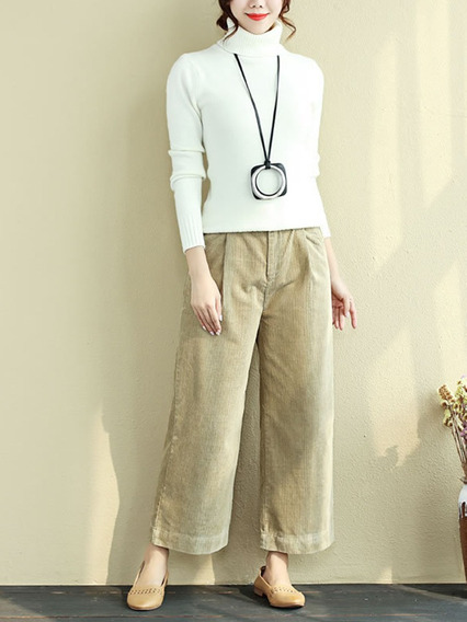 Pantalones De Pana Largos Tallas Grandes Casual Bolsillo