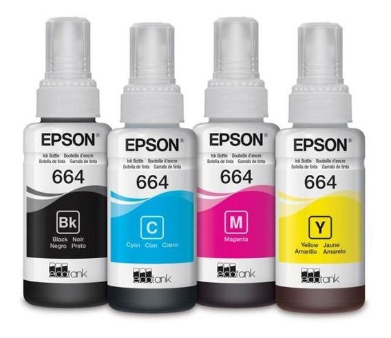 Kit Tintas Epson T664 L310 L380 L395 L575 L1300 4 Botellas