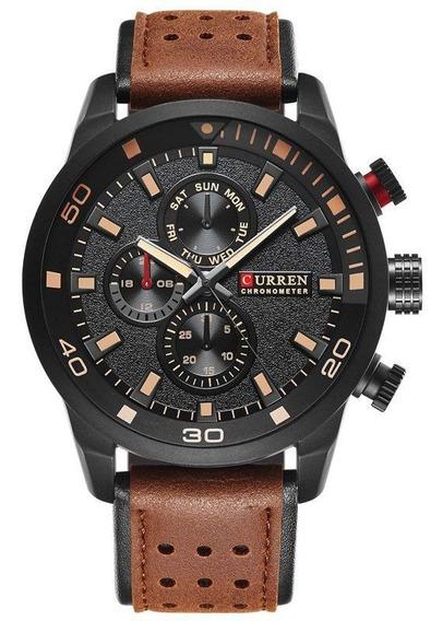 Relógio Masculino Pulseira De Couro Curren 8250 C/ Garantia