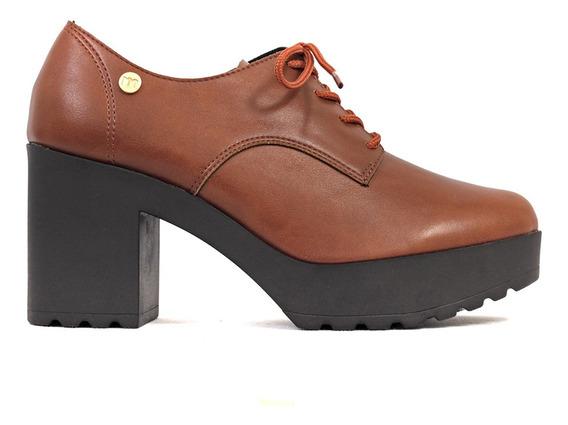 Zapato Acordonado Taco Alto Mujer Clara/s Cuero Ecologico