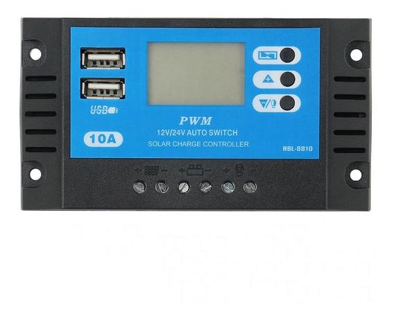 Controlador Carga Solar 10a 12/24v Pwm Lcd Rbl-8810 Otomatis