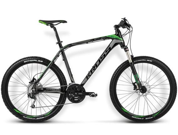 Bicicleta Kross Level A4 Negro/verde/grafito Matte Md