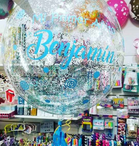 Globo Burbuja Cristal Personalizado 18¨ Con Helio Bubble