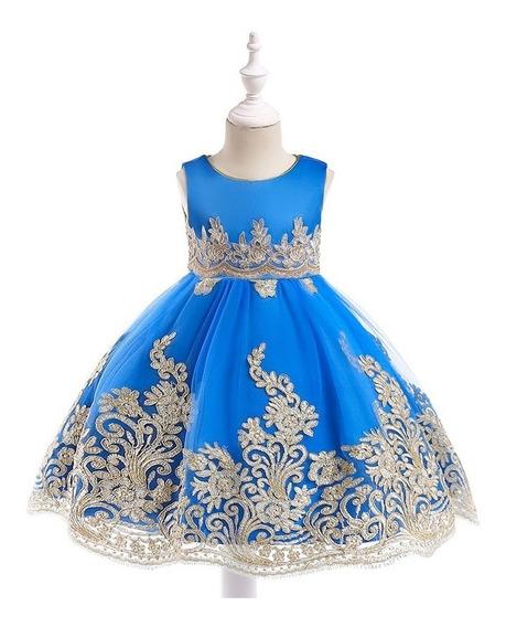 Vestido Infantil Realeza Luxo Bordado Azul Royal T.4/5 Anos