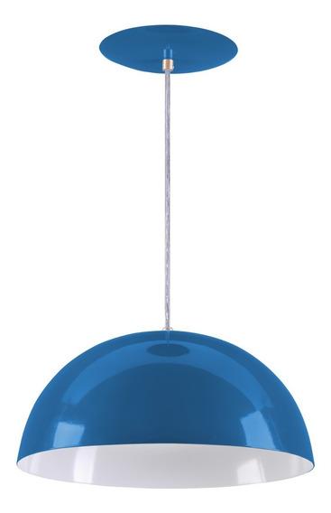 Pendente Meia Lua 40cm Meia Bola Alumínio - Azul Royal