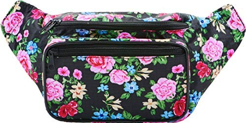 Sojourner Black Floral Fanny Pack Waist Bag Para Mujeres,
