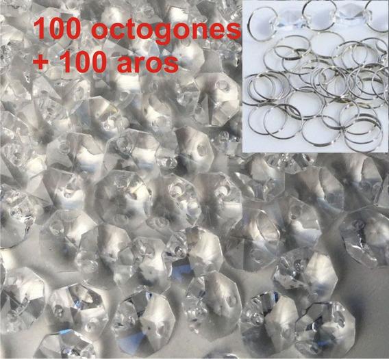 100 Octagonales Cristal 14mm Y 100 Aros Para Cortina Candil