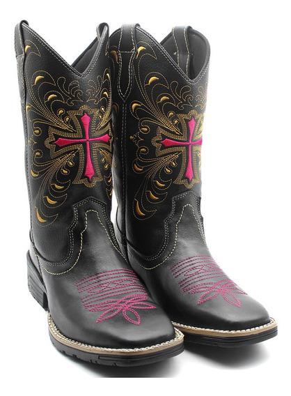 Bota Country Feminina Cruz Bico Quadrado Texana Em Couro