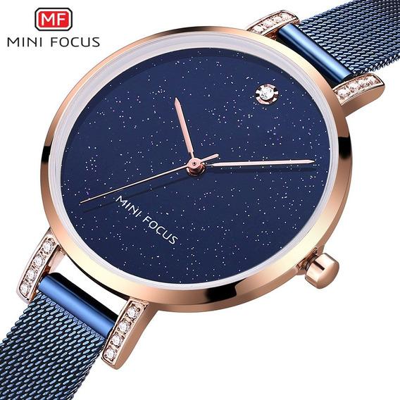 Mini Focus Quartz Relógios Aço Cinta Ouro