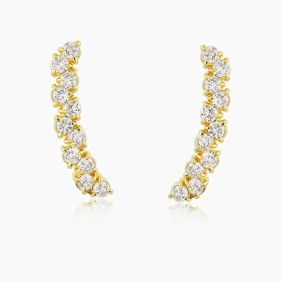 Brinco Ear Cuff Banho Ouro18k Delicado Luxo - Garantia