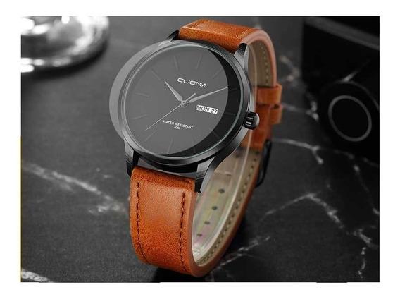 Relógio Masculino Luxo Cuena Com Pulseira De Couro