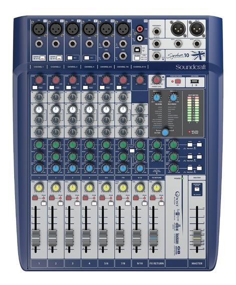 Mesa De Som Soundcraft Signature 10 Canais Mixer Usb + Nf