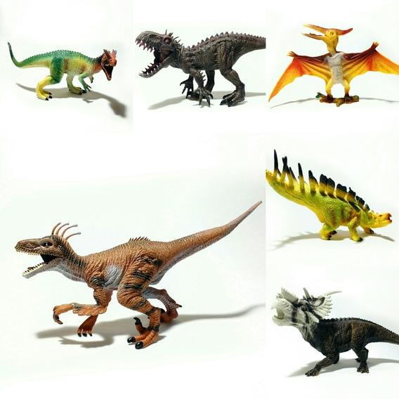 Maqueta 6 Dinosaurios Velociraptor Indominus Dilophosaurus