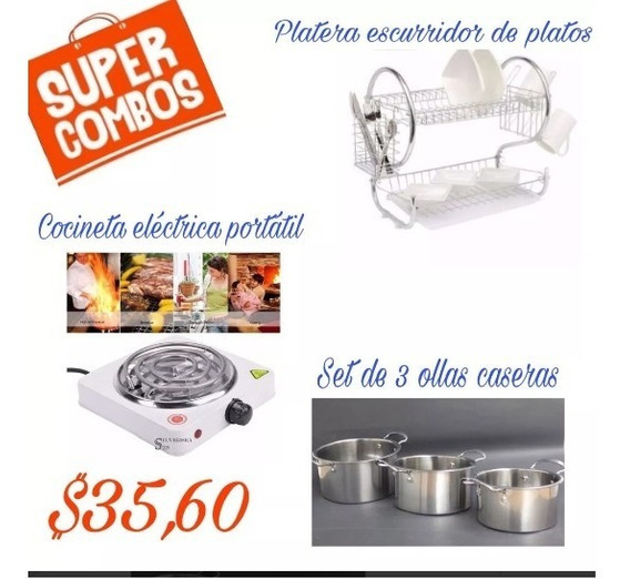 Super Combo Set De 3 Ollas, Escurridor De Platos Y Cocineta