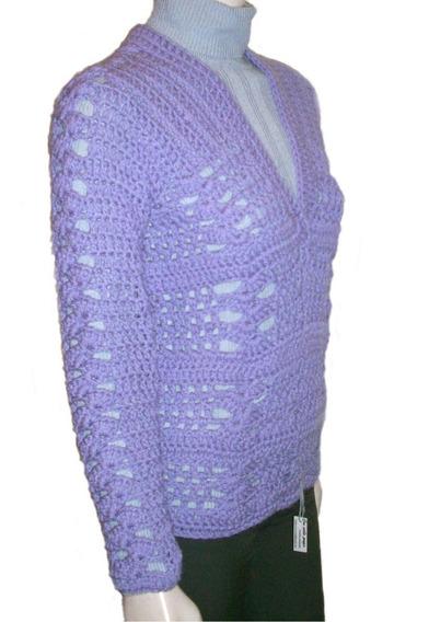 Sweater Tejido A Mano Artesanal Escote V Pulover Lana Mujer