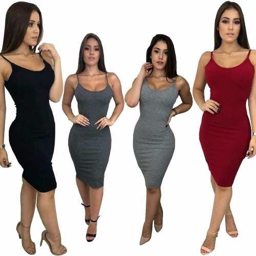 c8b0003d8bb6 Kit 5 Vestido Feminino Midi Malha Canelada Alcinha Tubinho - R$ 149,99 em  Mercado Livre