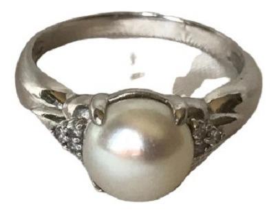 #707a - Anel Em Platina Com Diamantes E Peróla Biwa
