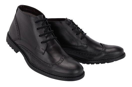 Sapato Botinha Coturno Masculino Social Couro Legítimo Oxfor
