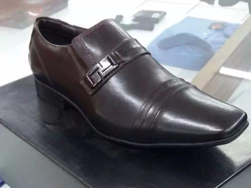 Sapato De Couro Sintético Marrom A Pronto Entrega