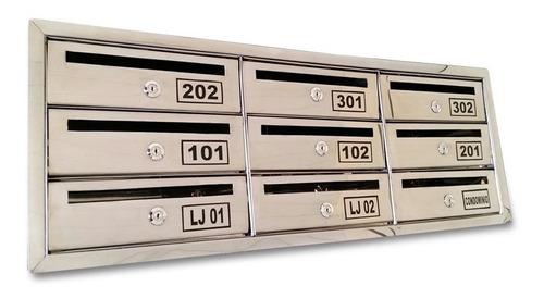 Caixa De Correio Inox Condomínio C/abertura Frontal 9 Aptos