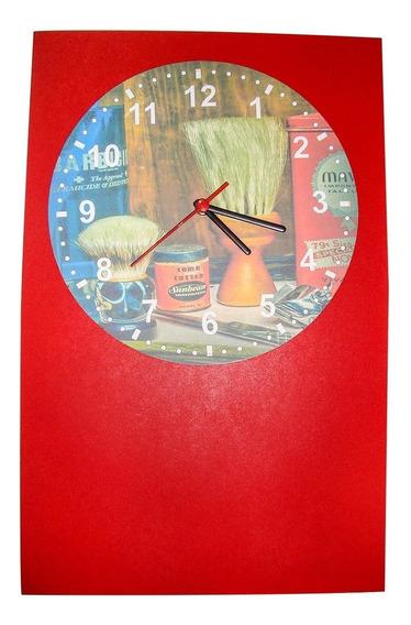Relógio Parede Madeira Barbearia Barbeiro Cabelo Decoração