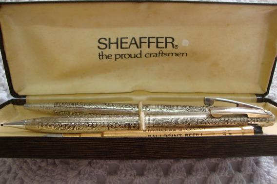Conjunto Sheaffer Imperial Prata Grapevine Esfero+lapis.1969