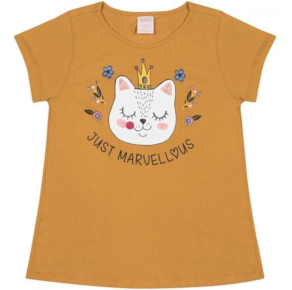 Blusa Infantil Manga Curta Gato Com Coroa