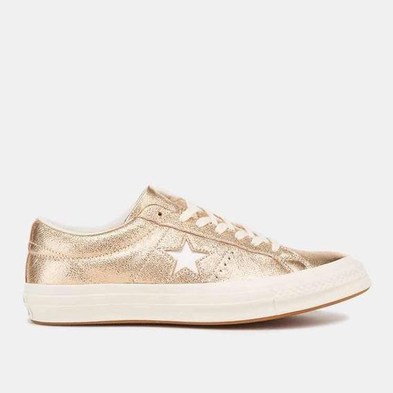 Zapatillas Converse De Mujer Modelo One Star Doradas