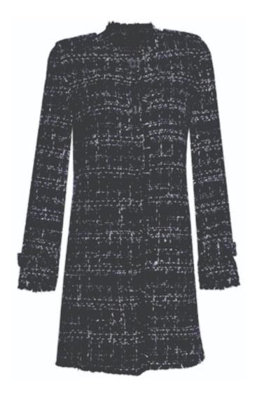 Casaco Feminino Tweed Liverpool Carmim Preto