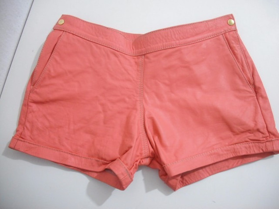 Shorts Couro Curto Tam 36 Rosa Goiaba Usado Bom Estado